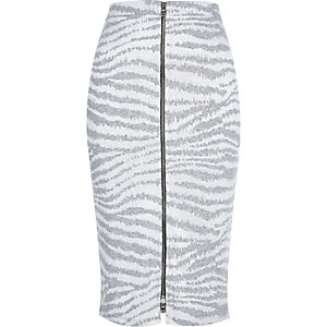 Grey zebra print zip front pencil skirt