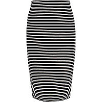 Black stripe pull on pencil skirt