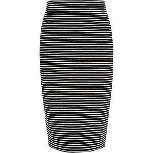 Black stripe pull on pencil skirt