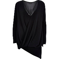 Black drape front asymmetric top