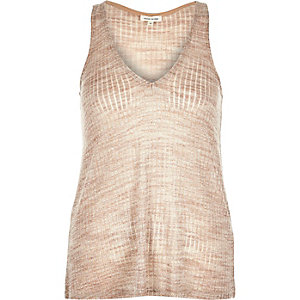 Light pink metallic V-neck vest