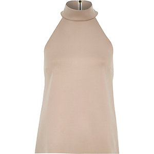 Nude pink high neck sleeveless top
