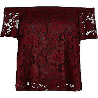 Dark red lace gypsy top