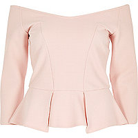 Light pink peplum bardot top