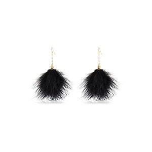 Black marabou feather earrings