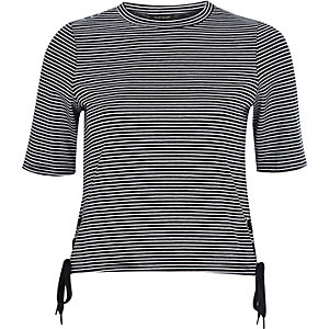 Navy stripe lace up side t-shirt