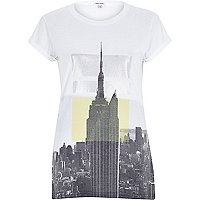 Grey skyscraper print fitted t-shirt