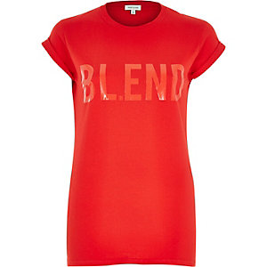 Red blend print fitted t-shirt