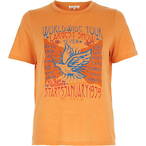 Orange worldwide tour print fitted t-shirt