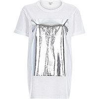 White foil print oversized t-shirt