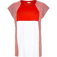 Red stripe colour block oversized t-shirt