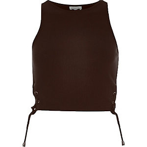 Brown side tie racer crop top