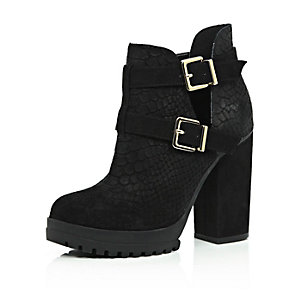 Black suede cut out ankle boots
