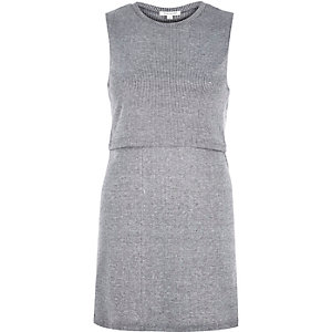 Light grey marl double layer tunic