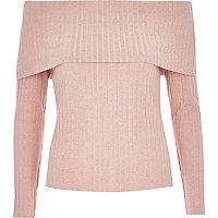 Pink fold bardot top