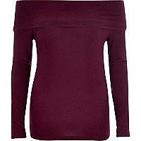 Dark purple fold bardot top