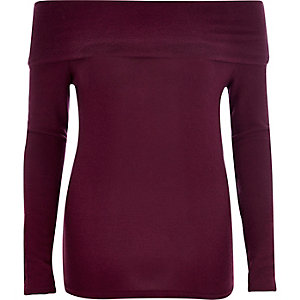 Dark purple fold bardot top