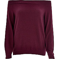 Dark purple long sleeve bardot top