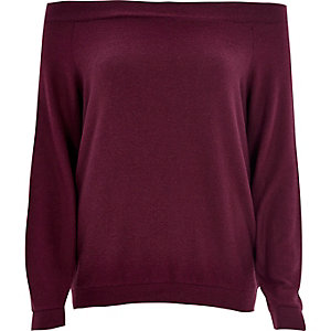 Dark purple long sleeve bardot top