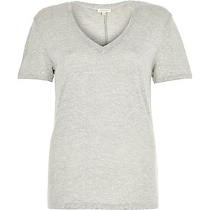 Light grey neppy V-neck t-shirt