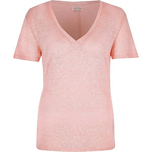 Pink neppy V-neck t-shirt