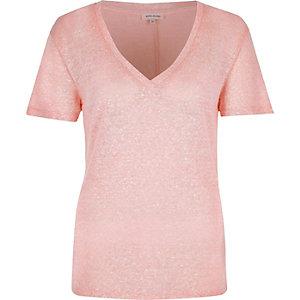 Pink neppy V-neck t-shirt