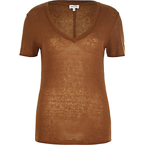 Brown neppy V-neck t-shirt
