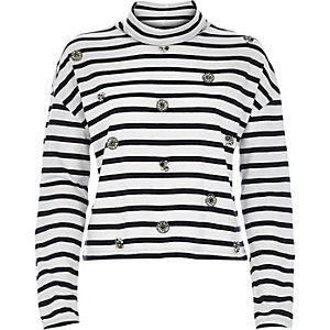 Navy stripe embellished roll neck top