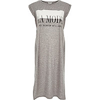 Grey la mode longline maxi t-shirt