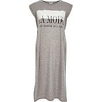 Grey la mode longline maxi t-shirt