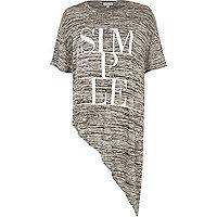 Grey marl simple print asymmetric t-shirt