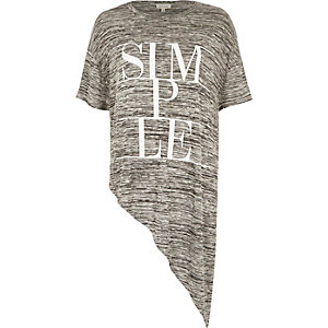 Grey marl simple print asymmetric t-shirt
