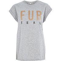 Grey fur real oversized t-shirt