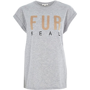 Grey fur real oversized t-shirt
