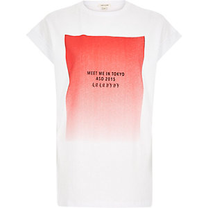 White faded Tokyo print oversized t-shirt