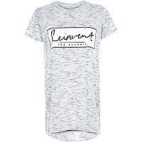 Grey marl reinvent print oversized t-shirt