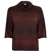 Brown space dye cowl neck top