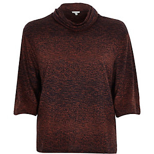 Brown space dye cowl neck top