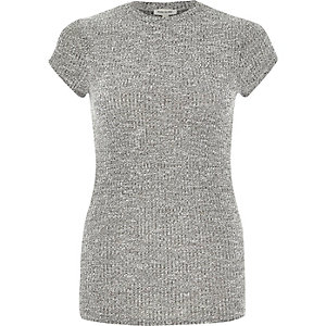 Grey marl cap sleeve t-shirt