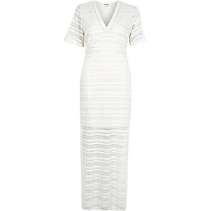 Cream spire lace maxi dress