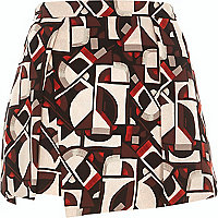Brown geometric print wrap front skort