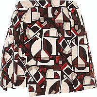 Brown geometric print wrap front skort