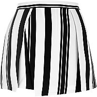 Black stripe wrap front skort