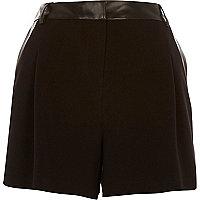 Black leather-look trim smart shorts