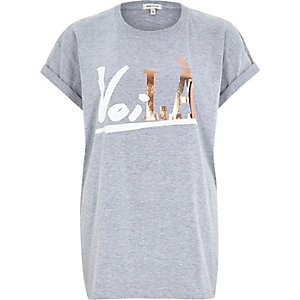 Grey voila foil print fitted t-shirt