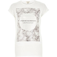 White marble style print fitted t-shirt