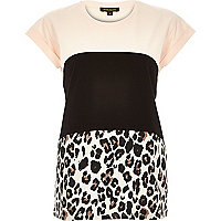 Pink leopard print colour block t-shirt