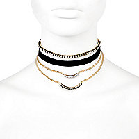 Black faux suede choker necklace pack