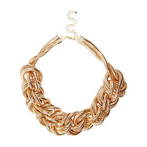 Gold tone oversized plaited necklace