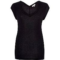 Black jersey V-neck t-shirt